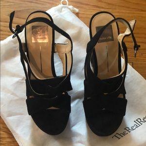 Dolce Vita Black Suede Wedge Sandals Size 7